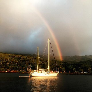 210/365 • Pandion - our last night on Ambrym. Now en route to Pentecost • . #friends #ambrym #ketch #rainbow #boatlife #ranon #anchorage #vanuatu #learning #sailing #bellalunaboat #cruising #exploring #Spring2018 #outdoorfamilies #seagypsies #kidboatposse | by miaow