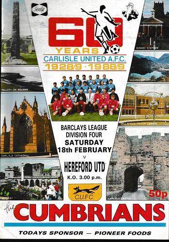 Carlisle United V Hereford United 18-2-89 | by cumbriangroundhopper