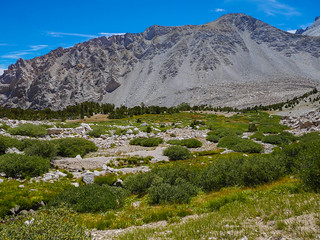 """The Oasis"" area at the end of the talus below Junction Pass 