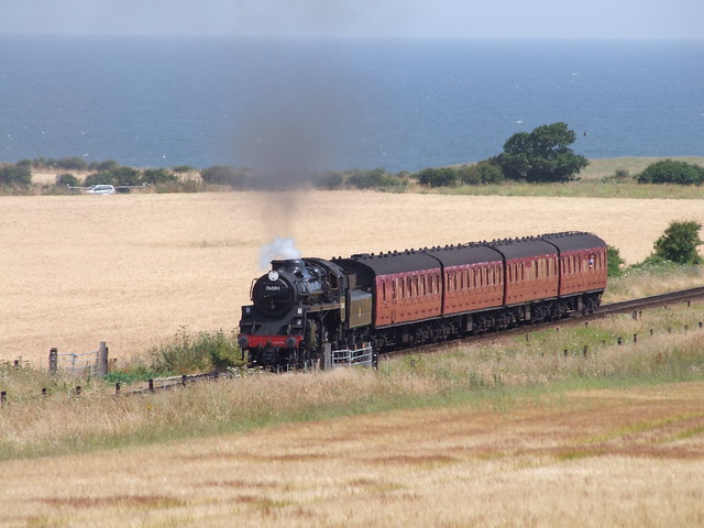 BR 4MT 2-6-0 - 76084 approaches Weybourne with an afternoon train from Sheringham 07-07-18 (2)