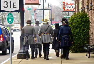 Sat, 04/26/2014 - 08:59 - Historic Impressionists walking down Main Street Medina
