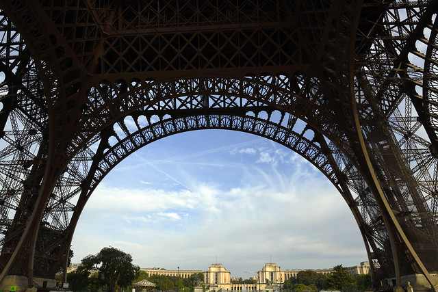 Beneath Eiffel tower looking towards Place du Trocadero in Paris, France  -  (Selected by GETTY IMAGES)