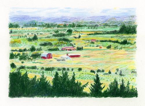 pencil oregon nature fields farm drawing rural willamettevalley landscape trees barn