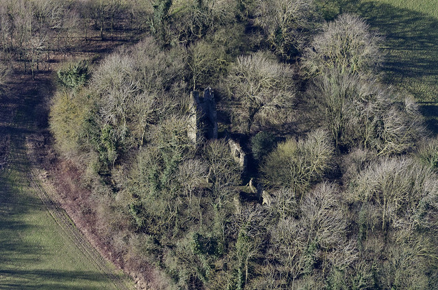 Saxlingham Thorpe - St Mary's Church ruin - Norfolk aerial