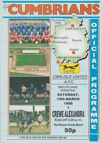Carlisle United V Crewe Alexandra 19-3-88 | by cumbriangroundhopper