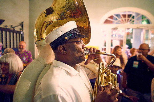 Treme Brass Band at the WWOZ Groove Gala on Sep. 6, 2018. Photo by Eli Mergel.
