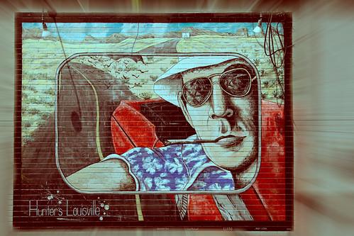 gonzojournalism huntersthompson hunterslouisville louisville louisvillian author deceased firsthandaccount hometownhero journalist mural rearviewmirror roadtrip selfie