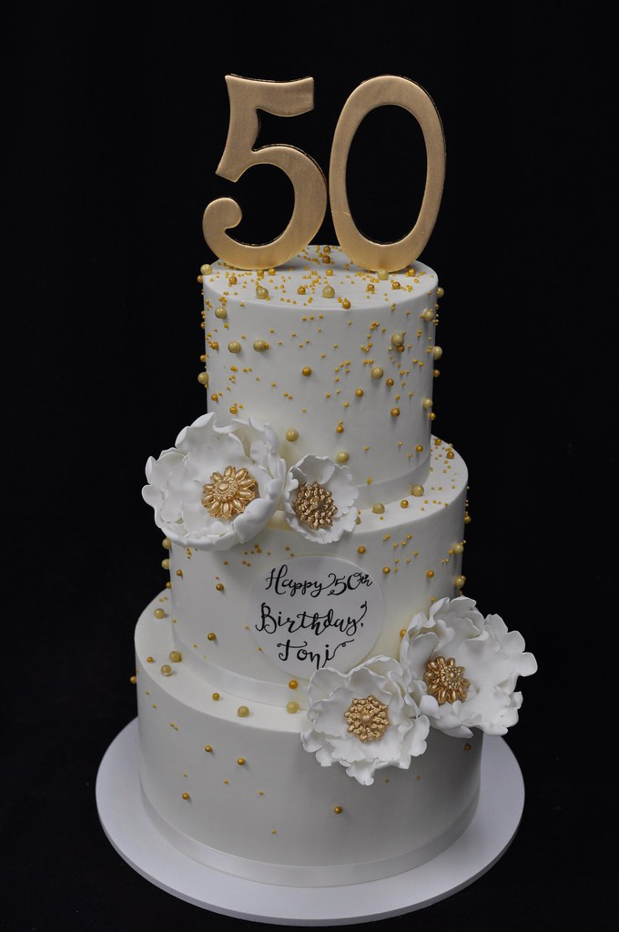 White And Gold Pearl 50th Birthday Cake