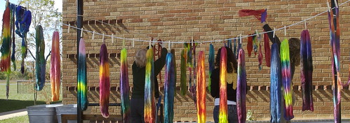 Yarn School 2006: Hanging dyed yarn and top out to dry