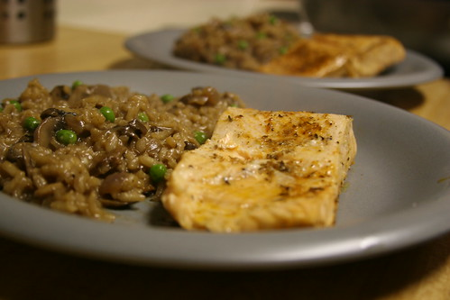 Mushroom Risotto with Salmon