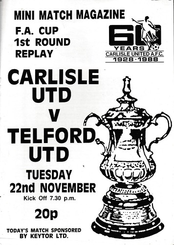 Carlisle United V Telford United 22-11-88 FA Cup Replay | by cumbriangroundhopper