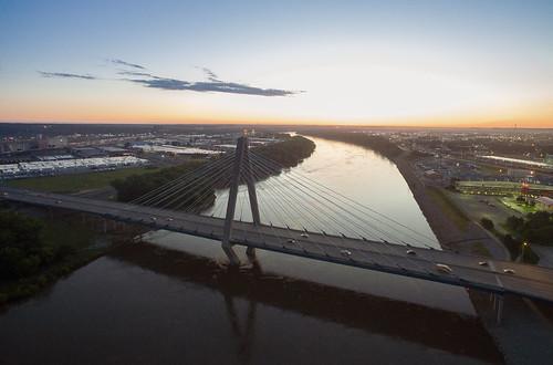 above bondbridge dji downtown drone flight kansascity kc kcmo kevinvanemburghphotography rivermarket missouri unitedstates us sunrise firstlight bridge landscape