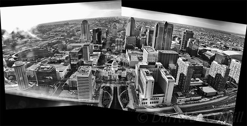 landscape scenic aerial city buildings downtown skyscrapers gatewayarch stlouis missouri usa bw monochrome black white grey gray composite stitch merged cityscape