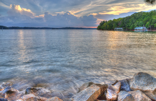 ronmayhew canoneos6dmarkii water lake lakelanier georgia sunset rocks clouds