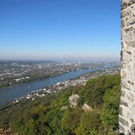 Aussicht von der Burgruine auf dem Drachenfels in nordwestlicher Richtung