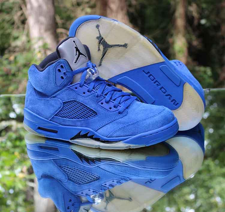 "44bc9196ebd4 ... Nike Air Jordan 5 Retro ""Blue Suede"" Black 136027-401 Size 11.5 Men s"