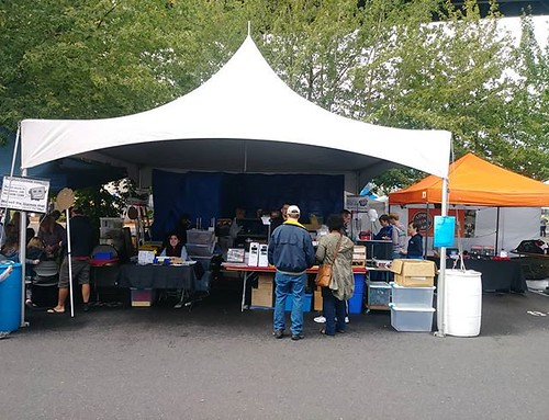 I got placed next to Surplus Gizmos this year at the Portland Mini Maker Faire. Sure makes it hard not to buy stuff from them. #makerfairepdx | by Low Voltage Labs