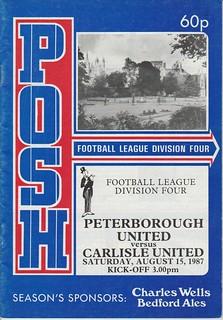 Peterborough United V Carlisle United 15-8-87 | by cumbriangroundhopper