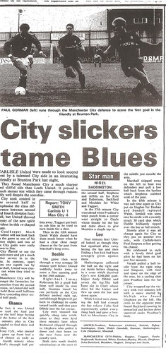 Carlisle United V Manchester City 12-8-88 | by cumbriangroundhopper