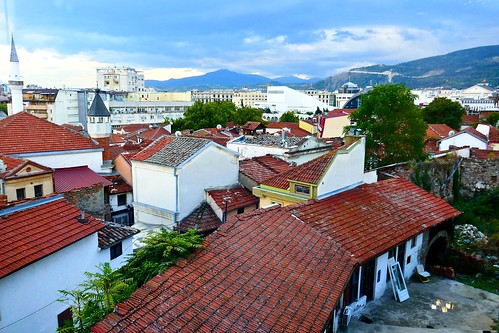 skopje macedonia architecture buildings houses minarets rooftops oldtown aerial view from bushi district aerialviewfrombushidistrict