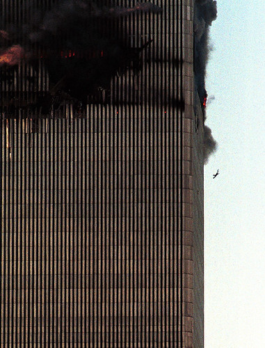 9/11 person jumps from smoke and flames at the World Trade Center