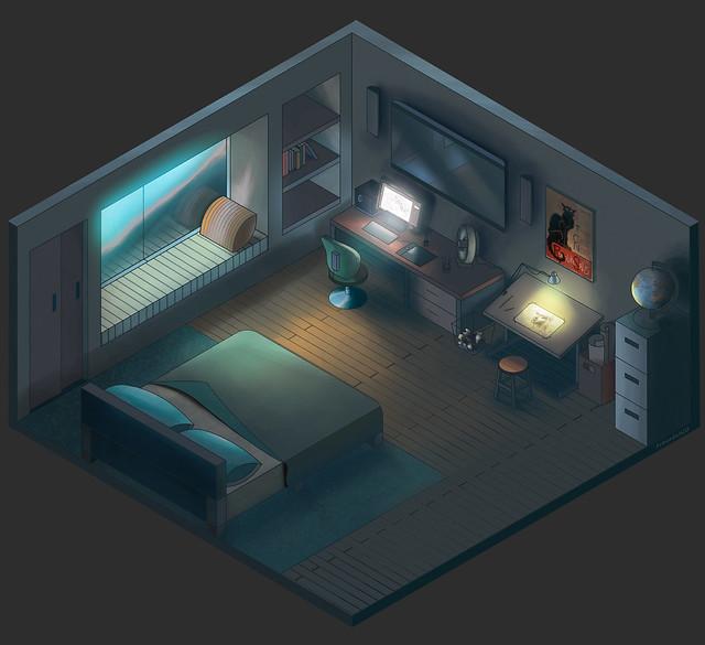 Isometría miniatura de mi cuarto