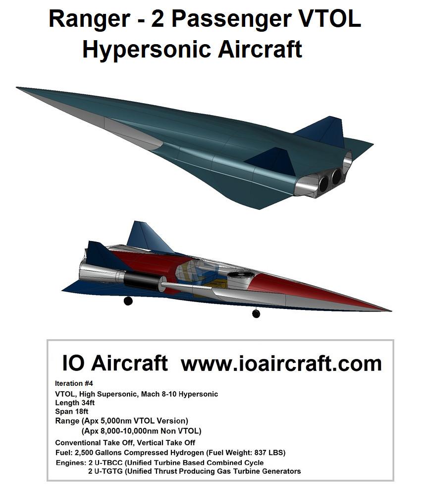 VTOL - Hypersonic Plane - High Supersonic - Scramjet - IO Aircraft - Iteration 4