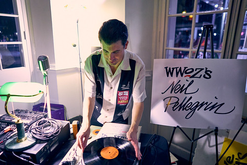 DJ Neil Pellegrin at the WWOZ Groove Gala on Sep. 6, 2018. Photo by Eli Mergel.