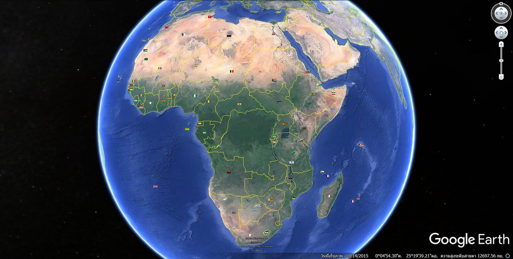 Google Earth, Africa 59 Countries Flags (Great Pyramid at