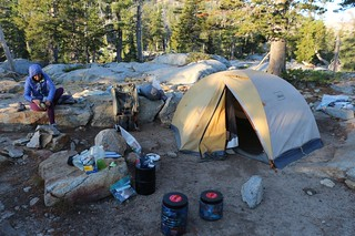 1895 Our gear is spread out all over the place as we pack up our camp on Middle Velma Lake in the morning | by _JFR_