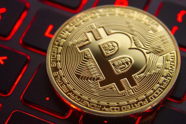 Bitcoin on gamer keyboard