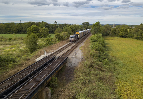 rural train tracks magic drone crop farming bridge
