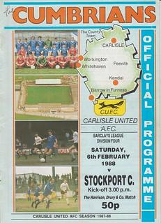 Carlisle United V Stockport County 6-2-88 | by cumbriangroundhopper