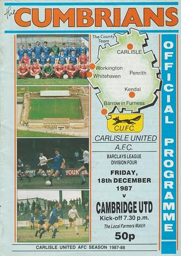 Carlisle United V Cambridge United 18-12-87   by cumbriangroundhopper