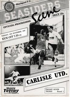 Blackpool V Carlisle United 24-11-87 | by cumbriangroundhopper
