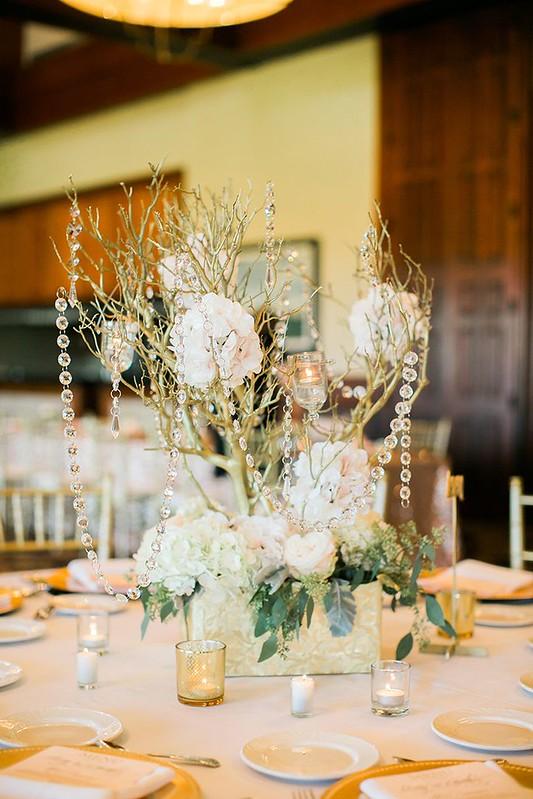 Weddings Flower Arrangements : gold branch with crystals centerpiece