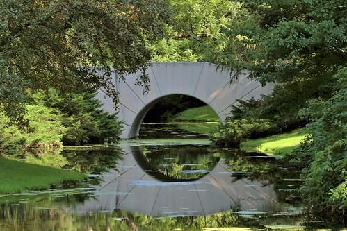 bridge sunbridge reflection water michiganmodern dowgardens landscape green lawn aldendow herbertdow dowchemical midland michigan summer jannagalski jannagal
