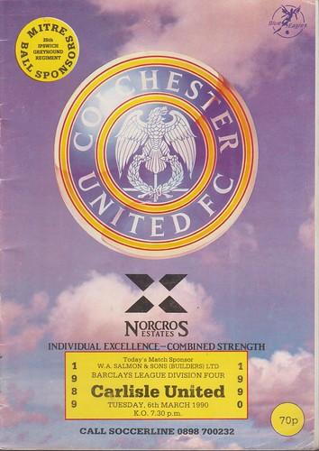 Colchester United V Carlisle United 6-3-90   by cumbriangroundhopper
