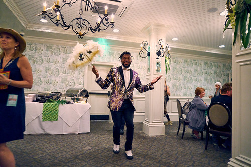Second line dancer at the WWOZ Groove Gala on Sep. 6, 2018. Photo by Eli Mergel.