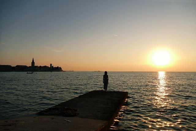 watching the sunset in Poreč