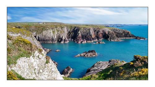 sky landscape serene rock sea cliff coast