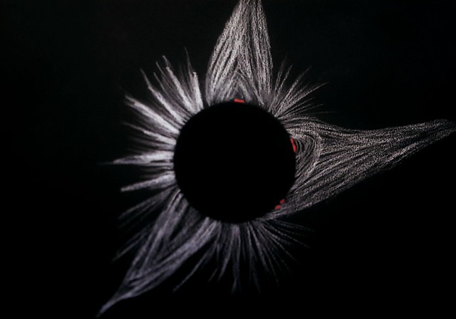 Total Solar Eclipse 2017 Totality Corona Sketch (Close up with proms)