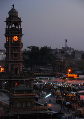 Night lights shine on a market in Jaisalmer, India