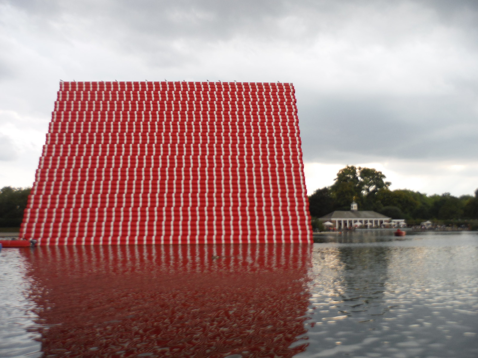 Christo, The London Mastaba, from Path along The Serpentine SWC Short Walk 19 - Royal Parks