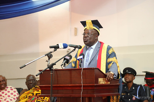 The Chancellor of the University of Cape Coast, Dr. Sir. Sam Jonah delivering a speech at the Congregation.