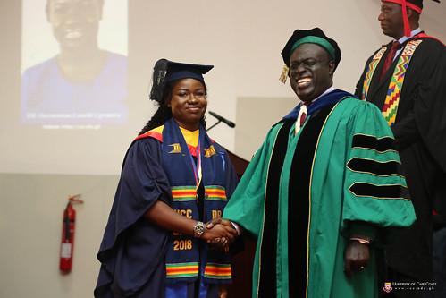 Overall best student, Ms. Lotachi Ugwunma Onyemenam, and  Prof. Eric Magnus Wilmot, Provost of the College of Education Studies, University of Cape Coast.