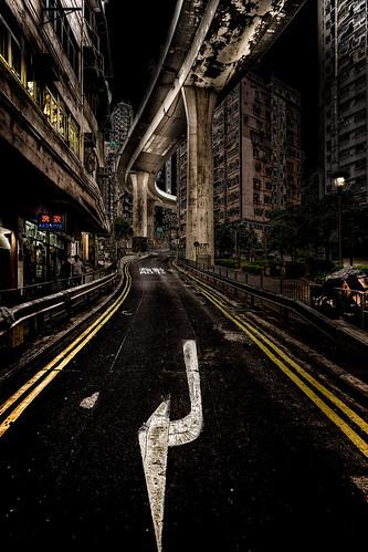 hong kong street photography night urban cityscape symmetrical road