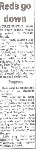 Workington Reds V Carlisle United 30-7-87   by cumbriangroundhopper