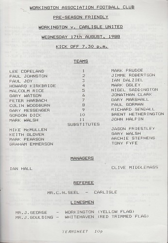 Workington Reds V Carlisle United 17-8-88 | by cumbriangroundhopper