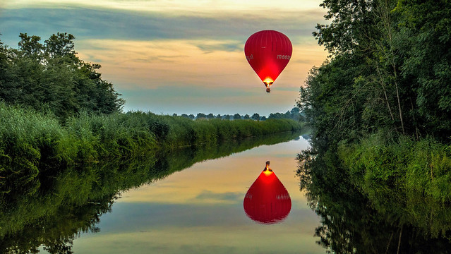 Reflection of a Hot Air Balloon during Sunset